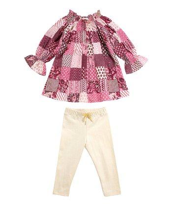 Masala Baby Plum Woodblock Medley Tunic & Cream Leggings - Infant