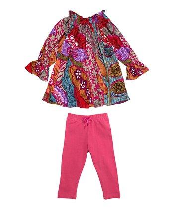 Masala Baby Pink Meringue Medley Tunic & Pink Leggings - Infant