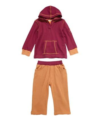 Masala Baby Plum Pique Hip-Hop Hoodie & Cinnamon Pants - Infant