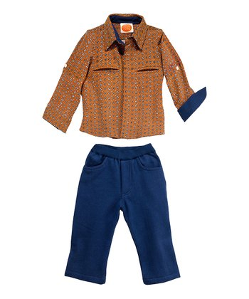 Masala Baby Keri Rust Dandy Button-Up & Navy Knit Pants - Infant