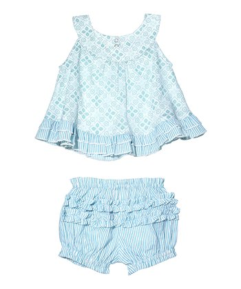 Masala Baby Turquoise Cross-Stitch Dress & Bloomers - Infant
