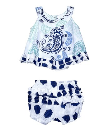 Masala Baby Blue Paisley Top & Bloomers - Infant