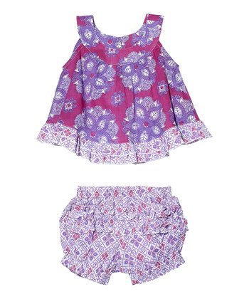 Masala Baby Pink India Rose Top & Bloomers - Infant