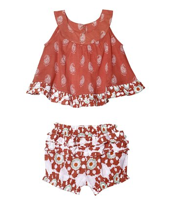Masala Baby Coral Paisley Top & Bloomers - Infant