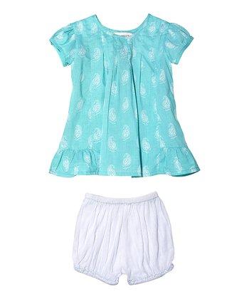 Masala Baby Turquoise Paisley Laya Dress & Bloomers