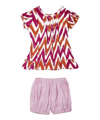 Masala Baby Pink Ikat Zigzag Laya Dress & Bloomers - Infant