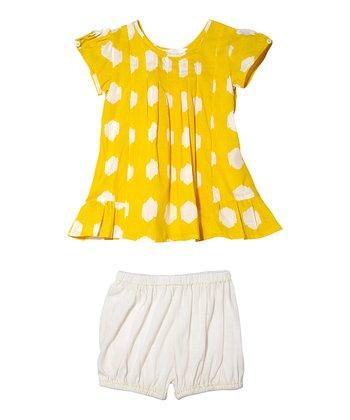 Masala Baby Yellow Ikat Dot Laya Dress & Bloomers - Infant