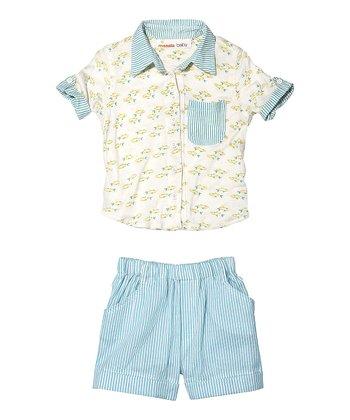 Masala Baby Aqua Fish Button-Up & Shorts - Infant