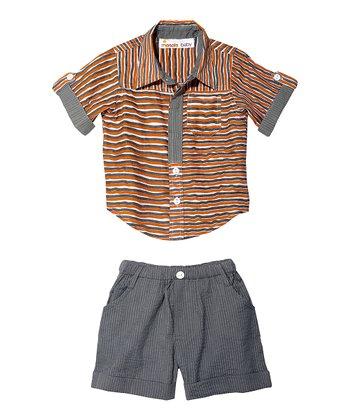 Masala Baby Orange Wavy Stripe Button-Up & Shorts - Infant