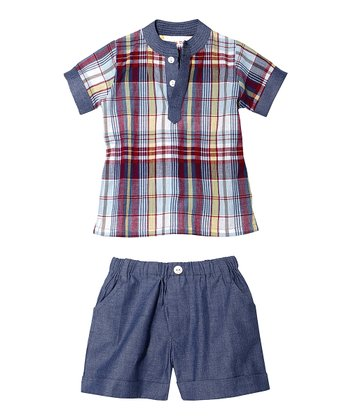 Masala Baby Blue & Red Tabla Top & Shorts - Infant