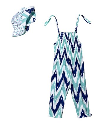 Masala Baby Turquoise Ikat Zigzag Jumper & Hat - Infant