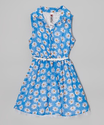 Royal Daisy Belted Button-Up Dress