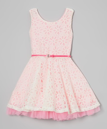 Candy Pink Daisy Crocheted Belted Dress