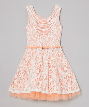 Creamsicle Lace Crocheted Belted Dress