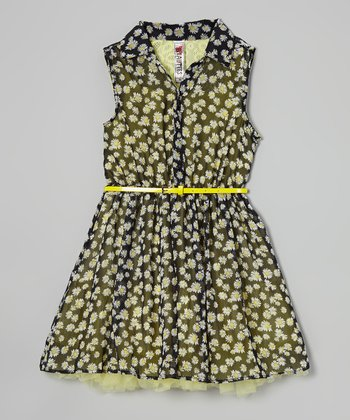 Black Daisy Belted Button-Up Dress