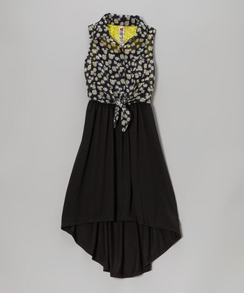 Black Daisy Tie-Front Hi-Low Dress
