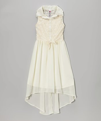 Cream Crocheted Tie-Front Hi-Low Dress