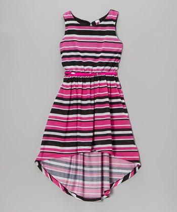 Pink & Black Stripe Belted Hi-Low Dress