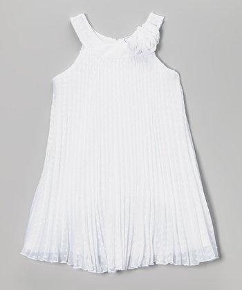 White Rosette Yoke Dress