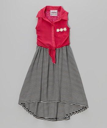 Hot Pink Stripe Tie-Front Hi-Low Dress