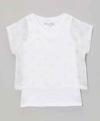 White Polka Dot Layered Top - Toddler & Girls