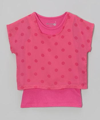 Bright Fuchsia Polka Dot Layered Top - Toddler & Girls