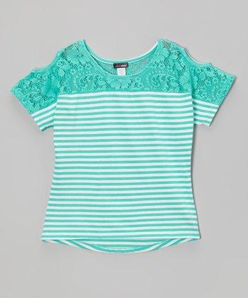 Dreamstar Mint Stripe Lace Yoke Top - Girls