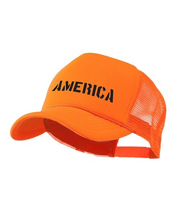 Bright Orange 'America' Trucker Hat