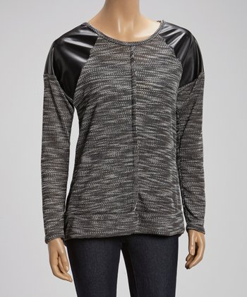 Black & Gray Space Dye Shoulder-Accent Sweater