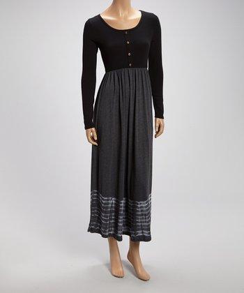 Black & Gray Button-Up Maxi Dress