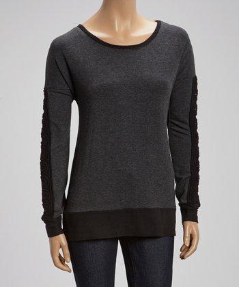 Gray & Black Boatneck Sweater