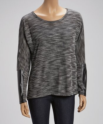 Black & Gray Accent-Patch Sweater