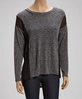 Black & Gray Sheer-Panel Sweater