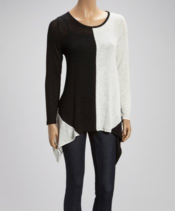 Black & White Sidetail Sweater