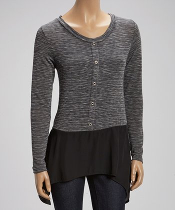 Black & Gray Sidetail Button-Up Top