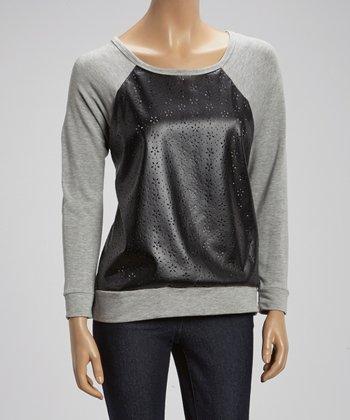 Black & Gray Pleather Raglan Sweater