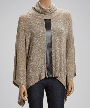 Gold & Black Accent-Stripe Cowl Neck Sweater