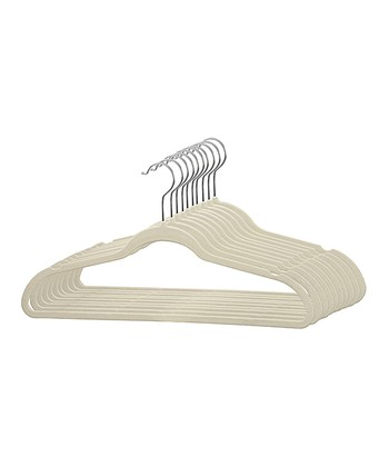 White Velvet Hanger - Set of 10