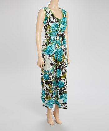 Green & Blue Floral Maxi Dress