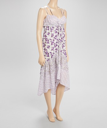 Purple & White Floral Dress