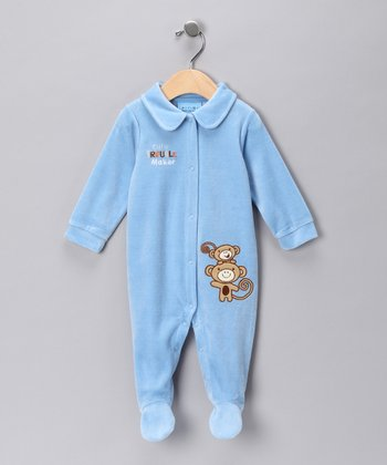 Blue 'Cute Trouble Maker' Velour Footie