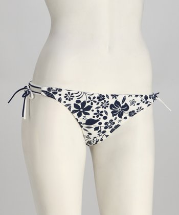 Black Flower European Bikini Bottoms - Women