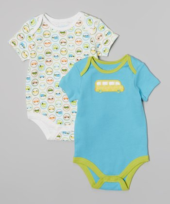 Blue & Green Cars Bodysuit Set - Infant