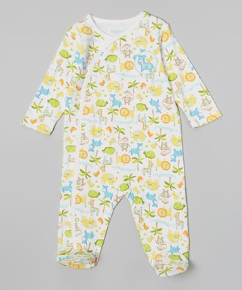 White & Orange Animals Footie - Infant