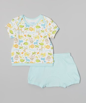Light Blue & White Animal Bodysuit & Monkey Diaper Cover - Infant