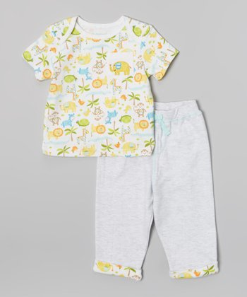 Athletic Heather & White Animals Tee & Pants - Infant