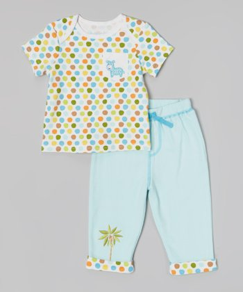 Light Blue & White Polka Dot Zebra Tee & Pants - Infant