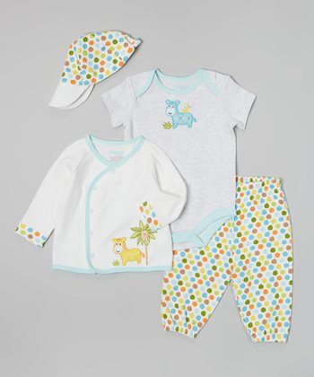 Light Blue & White Giraffe Bodysuit Set - Infant