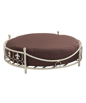 Cream Fleur De Lis Round Frame Pet Bed
