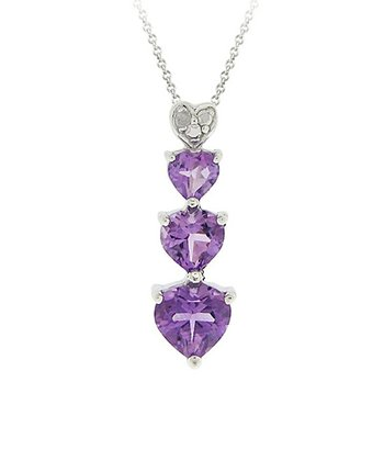 Amethyst & Diamond Four Hearts Pendant Necklace